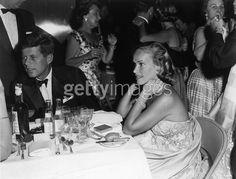 C1958. By Bert MORGAN. Palm Beach, Florida. Senator Kennedy with Mrs Daniel Topping at Heart Fund Ball Benefit.