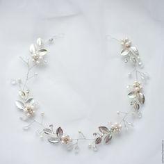 Купить Свадебное венок для волос - белый, украшение для волос, свадьба, выпускной, свадебное украшение
