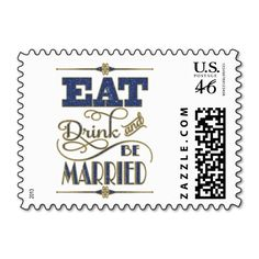 Gold With Blue Glitter Eat Drink And Be Married Postage Stamps