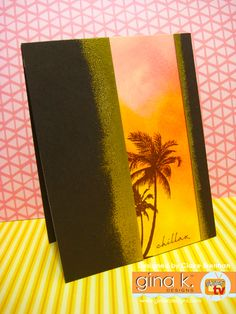 Palm Tree Silhouette, Beach Cards, Hawaiian Theme, Die Cut Cards, Clear Stamps, Palm Trees, Card Making, Greeting Cards, Tropical
