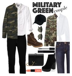 """""""Couple Army"""" by kiyourachihiro on Polyvore featuring Topman, Banana Republic, MANGO, Maje, Yves Saint Laurent, Tory Burch, New Look, Timberland, Mulberry and Gucci"""