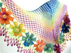 Rainbow,Multi Color, flower shawl ,wedding ,bride,scarf, fall fashion, gift, valentine, winter trends, 2012. $49.99, via Etsy.