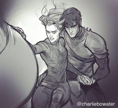 Sketch of Rhys and Feyre at the end of ACOWAR by charliebowater