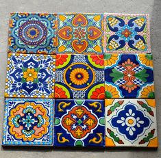 """Items similar to 18 Mexican Talavera Tiles. Hand made-Hand painted 4 """"X Mix on Etsy Tile Art, Mosaic Tiles, Mexican Art, Mexican Tiles, Talavera Pottery, Ceramic Pottery, Ceramic Art, Art Mural, Art Décor"""