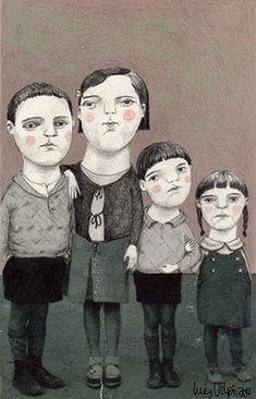 'Meet the Odd Family', line and sketchbook drawing, with Pastels, art.