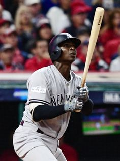 October 11, 2017:  ALDS Game 5: Yankees at Indians  -  New York Yankees pitcher CC SNew York Yankees' Didi Gregorius watches his two-run home run off Cleveland Indians starting pitcher Corey Kluber during the third inning of Game 5 of a baseball American League Division Series, Wednesday, Oct. 11, 2017, in Cleveland.