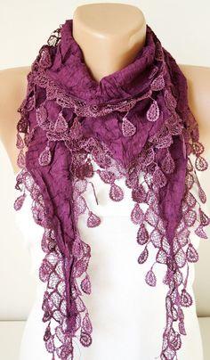 Lace Scarf Woman Scarf Purple Plum Scarf Fashion Scarf by Periay, $15.00