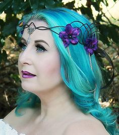 Black and Purple Flower Crown Floral Crown by OnGossamerWings