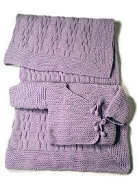garter stitch baby kimono with basketweave blanket framed in a mitered garter band (with tut)