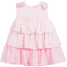 Baby girls pink sleeveless dress by Mayoral Newborn, with a zip at the back to fasten for easy dressing. Fully lined in a soft cotton poplin, it has layers of sheer ruffled organza with floral appliqué shoulders, perfect for little princesses.