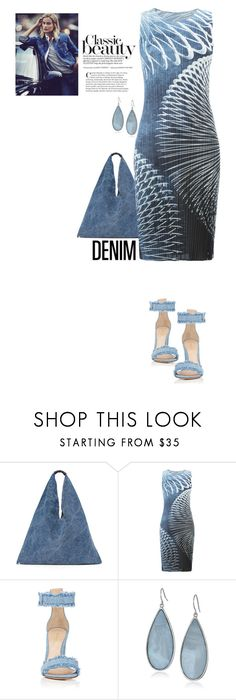 """""""Denim"""" by terry-tlc ❤ liked on Polyvore featuring MM6 Maison Margiela, Pleats Please by Issey Miyake, Gianvito Rossi and Kenneth Cole"""