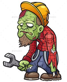 Buy Zombie by SARAROOM on GraphicRiver. Vector illustration of Cartoon zombie mechanic Zombie Drawings, Dark Art Drawings, Cartoon Drawings, Cartoon Art, Cartoon Design, Zombie Illustration, Zombie Style, Zombie Tattoos, Pencil Drawings