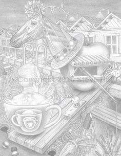 Dr. Applehead bets on Coffee in the Fourth Race #pencildrawing #fineart #surreal #fantasy #blackandwhite