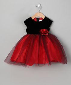 Kid Fashion Red & Black Damask Velvet Dress - Girls | Girls ...