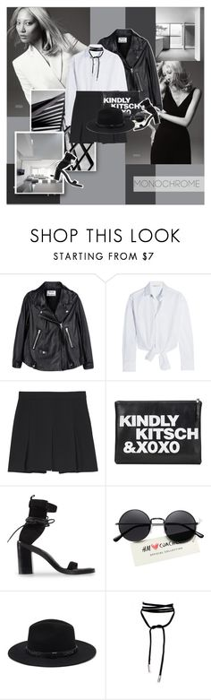 """"""".."""" by margarita-m-a ❤ liked on Polyvore featuring Cotton Candy, Acne Studios, Maje, Proenza Schouler, Ann Demeulemeester, Forever 21 and monochrome"""
