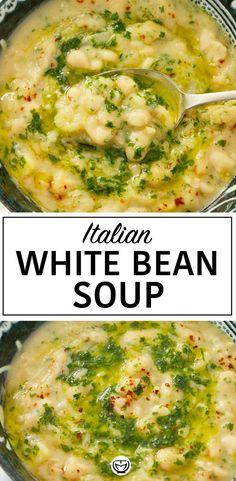 Apr 2020 - This is an awesome Italian white bean soup with big bold flavor! Simple and quick, it requires a few basic ingredients and tastes amazing. Bean Recipes, Soup Recipes, Vegetarian Recipes, Dinner Recipes, Cooking Recipes, Healthy Recipes, Vegetarian Barbecue, Healthy Soups, Vegetarian Soup