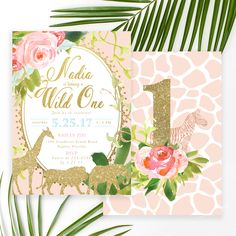 The Nadia invitation is cutest, classiest glam Safari or Jungle themed Birthday Party invite ever! Perfect for little girl's first birthday or any age. Featuring pretty gold modern calligraphy lettering, tropical leaves and florals and safari animals on a pretty blush pink background.