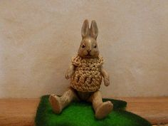Antique Miniature Hertwig All Bisque Jointed Bunny Rabbit 1920s Dollhouse Doll | eBay