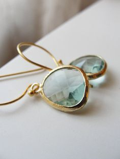 Mint green and gold earrings  light green by OliveYewJewels