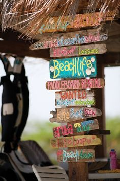 Beach signs ~ love this picture! have a favorite? I can paint it for you or if you like learn how! this picture is re-pinned for idea purposes only!