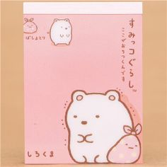Sumikkogurashi pink mini Note Pad polar bear and cloth 1