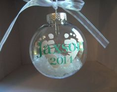 Baby's Christmas Ornament - Name - Foot prints -  Decorations - Tree - Gift - Personalized - Glitter - Vinyl - Child - Newborn - Infant