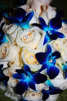 Photography by Charisma Moran. Blue and white bouquet with mini crystals #weddings #flowers #bouquet