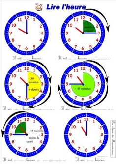 lire l'heure et quart moins le quart