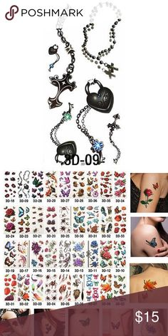 Removable Waterproof Temporary Tattoos 3D 100% Brand New Size: app 190*90MM Technology: Hot-stamping gold,silver, black, colorful tattoos; 1. Cut out tattoo of choice. 2. Remove clear, protective top sheet. 3. Press tattoo firmly onto clean, dry skin with design face down. 4. Wet tattoo thoroughly using wet sponge or cloth. 5. Peel off paper backing after 30 seconds. Pat dry. 6. Tattoos can be removed by washing with soap and water. To remove tattoos more easily, you can use a drop of body…