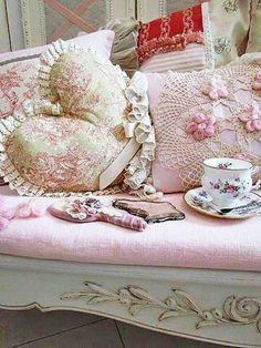 Shabby Chic Sofa and Pillows Pink and White