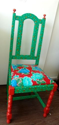 Fabric decoupage, paint and oil cloth. Awesome chair make over by me :o)