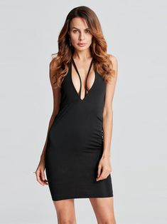 Sexy Women Sleeveless Backless V-neck Party Pencil Dresses