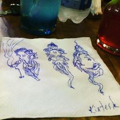 A drawing from a hotel wall to a tissue paper