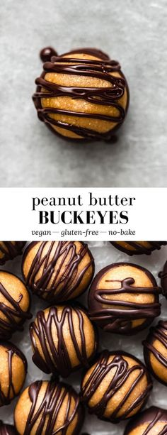 These Healthy Peanut Butter Buckeyes are no-bake, vegan, gluten-free, and taste like a chocolate peanut butter cup! #peanutbutter #buckeyesrecipe #healthydessert #nobakedessert
