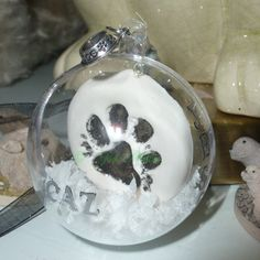 Personalized Paw Print Polymer Clay Ornament, Paw bauble.  Dog Lover Gift, Cat Christmas Baubles, Pet Memorial, Gotcha day gift, Pet memory by OriginalArtAndCrafts on Etsy
