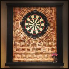 Dart board with wine corks