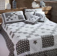 Bouti 1 piazza bianco e grigio patchwork con stelle e pois Blanc MariClò - TRAPUNTE E PLAIDS - TESSILE