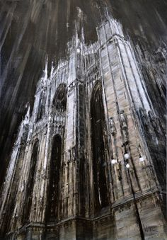 artchipel: Valerio D'Ospina - Duomo di Milano. Oil on linen, The Beast, William Adolphe Bouguereau, Environment Painting, Built Environment, A Level Art Sketchbook, Ghost In The Machine, Italian Artist, Light Art, Pattern Art