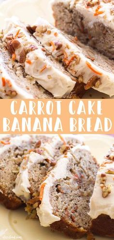 easy Carrot Cake Banana Bread recipe with cream cheese frosting makes the best breakfast or easter dessert! This delish banana bread recipe combines a classic banana bread recipe with a carrot cake and makes the best baking recipe! Carrot Cake Bread, Carrot Banana Cake, Easy Carrot Cake, Moist Banana Bread, Banana Bread With 2 Bananas, Desserts With Bananas, Baking With Bananas, Carrot Bread Recipe, Banana Bread Cookies