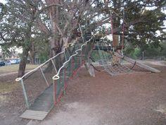Treehouse at East Alma Adventure Playground, located in St. Kilda, Australia.