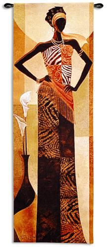 $79.99 Fine Art Tapestries Amira African Woman Wall Tapestry 5796-WH by Keith Mallett in rich warm colors. Coordinate with matching Malaika and Naima Tapestries