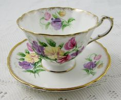 Paragon Tea Cup and Saucer with Sweet Pea Flowers, Antique Tea Cup, Fine Bone China