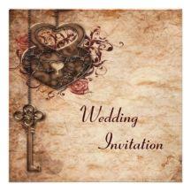 Vintage Heart Lock & Key Luxury Wedding Invite