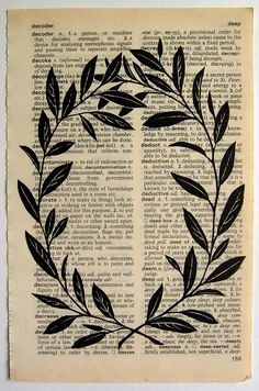 Wreath - linocut print on dictionary page.