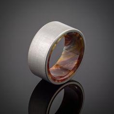 Titanium Men's Wedding Ring in Iced Bronze by spexton on Etsy