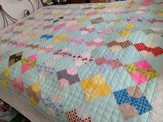 """Cotton Quilt Bow Tie Hand Quilted 82""""x 82"""", Excellent condition, Vibrant Colors"""