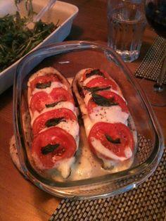 Aubergineschuitjes met mozzarella