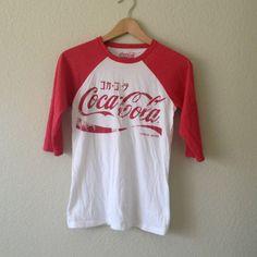 Coca-cola Japanese style print baseball tee.