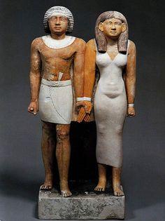 Tenti und Frau 5. Dynastie Kalkstein bemalt Berlin