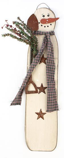 "Wood Snowman Plaque - WOW 28"" tall!  Was: $19.99  Now: $14.99"